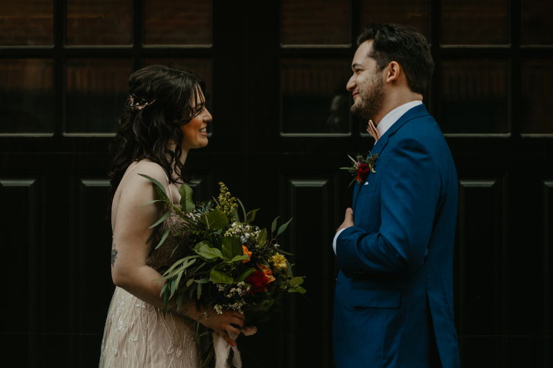 Bride and Groom exchange personal vows during wedding photos