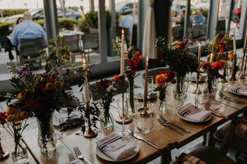 Wildflower centrepieces setup at Halifax Hoboken wedding