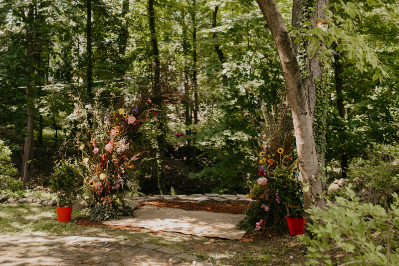 Deconstructed Wedding Arch with Wildflowers