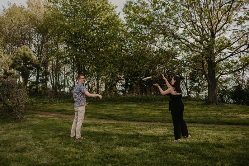 engagement season playing frisbees