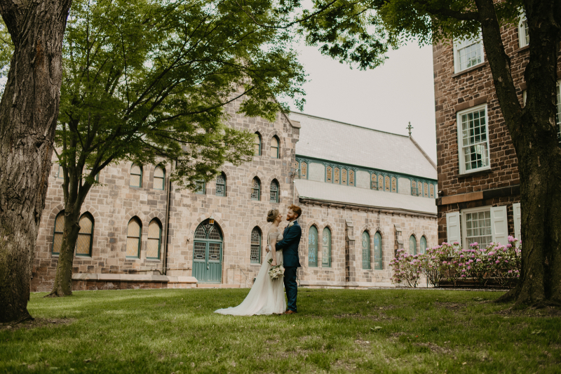 Outdoor first look photos with European wedding vibe in New Jersey