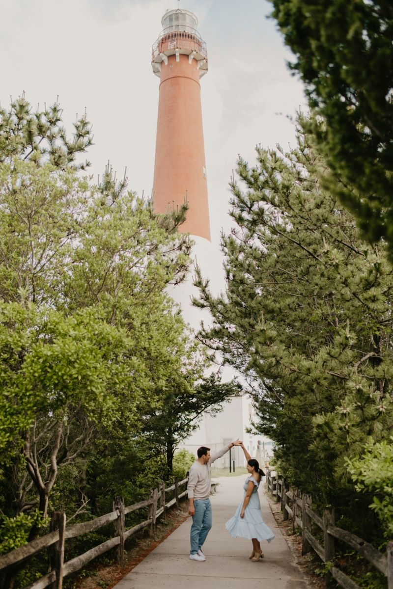 Lighthouse Engagement Photos in Long Beach Island.