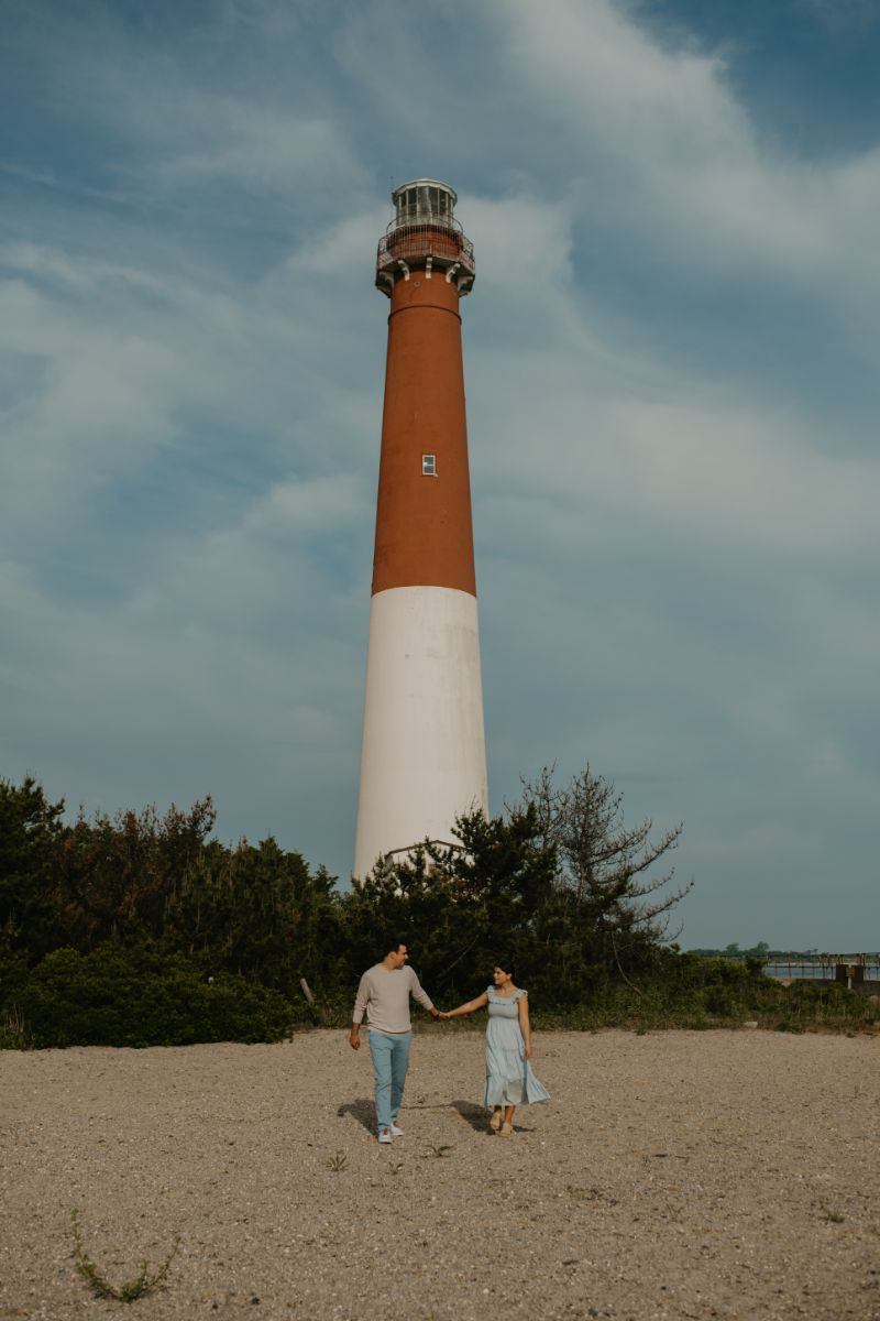 Lighthouse Love, in this unique Long Beach Island Engagement photoshoot.