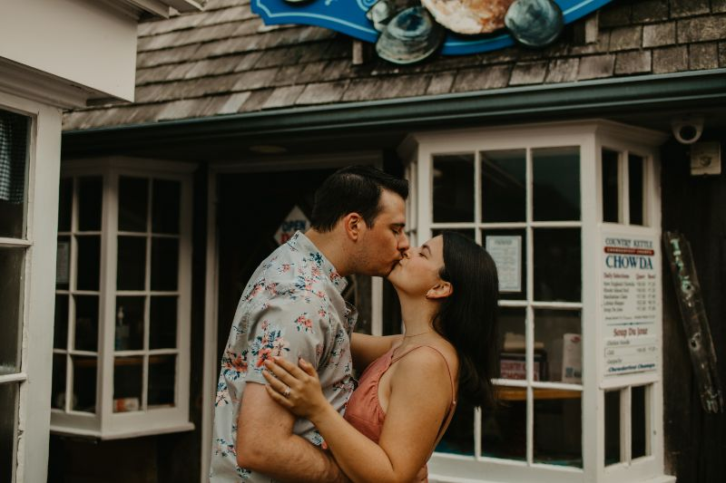 Engagement photos of couples kissing. Small Town Charm, and Romantic Kisses.
