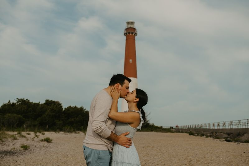 Long Beach Island Lighthouse Romantic Engagement Photoshoot.