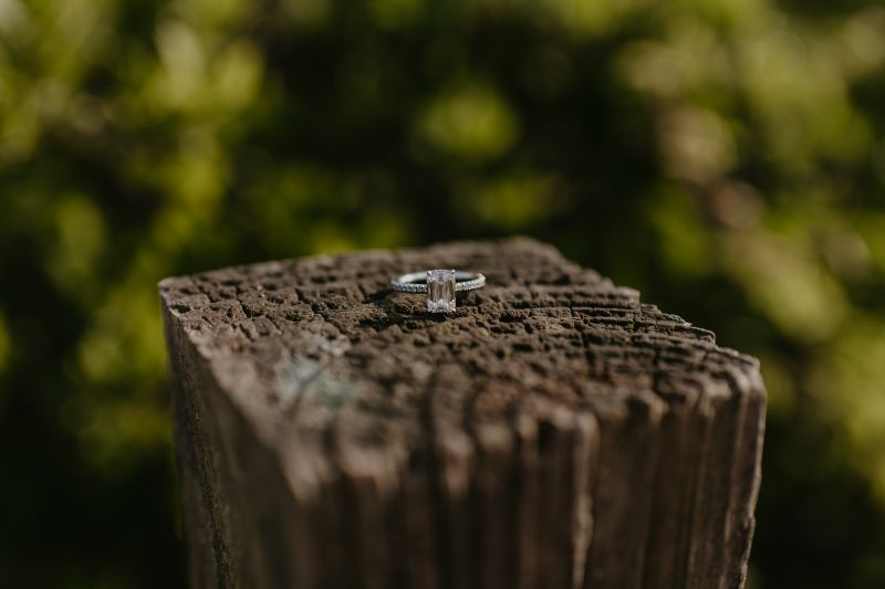 Rustic Engagement ring Photo on a post surrounded by Green Trees and Nature. Taken close to Long Beach Island.