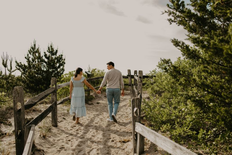 Walking a Pathway to Love, in this Long Beach Island Romantic Engagement Photoshoot.