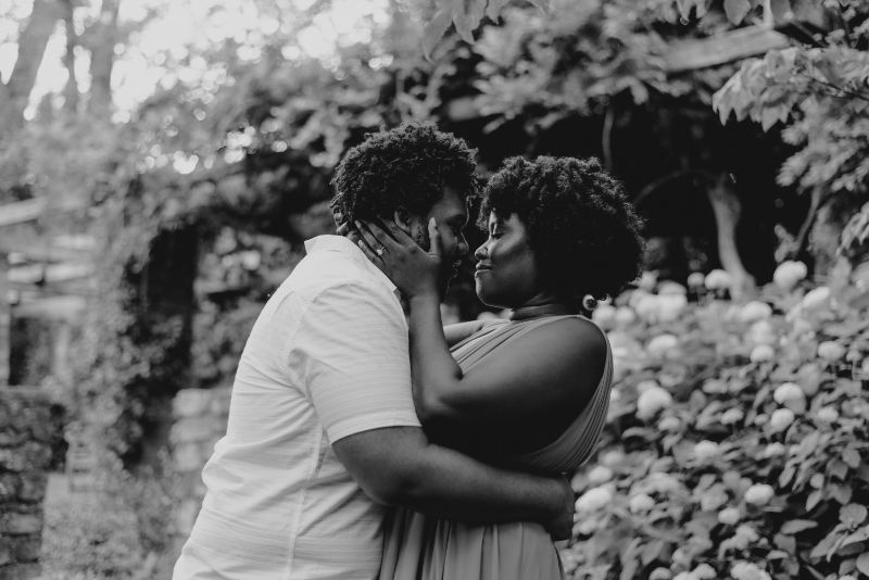 Black and White Photography in this Cross Estate Gardens Engagement Photo.