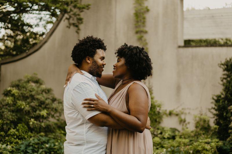Romantic and intimate Cross Estate Gardens Engagement Photos.