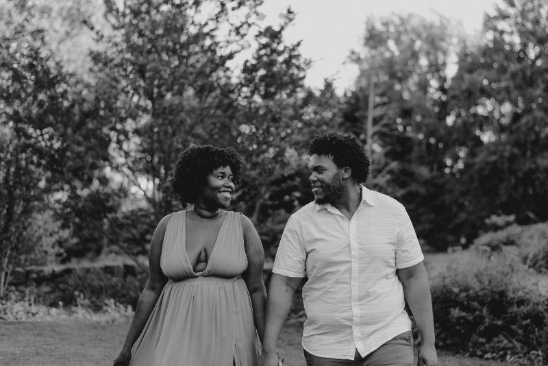 Classic black and white Cross Estate Gardens Engagement Photos.