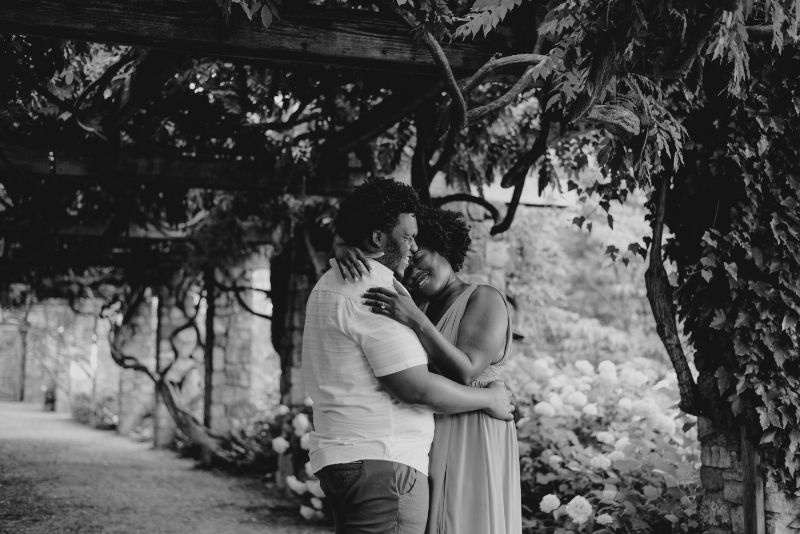 Vintage looking Black and White Cross Estate Gardens Engagement Photo.