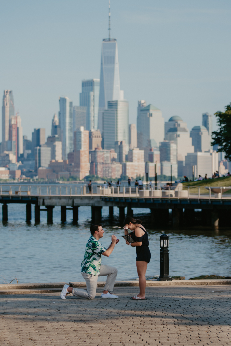 Man gets on one knee and proposes NYC skyline