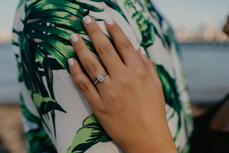 Closeup of Emerald Cut diamond engagement ring